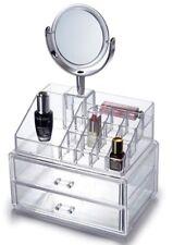 Oxid7® Kosmetik Organizer Acryl 37,5x24x17cm 16 Fächer + 2 Schubladen + Spiegel