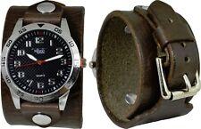 Men's Dark Brown Leather Cuff Watch; Wrap Around Cuff; Sport Dial