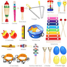 23PCs Wooden Kids Baby Musical Instruments Set Toys Music Percussion Children US