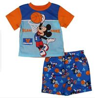 NWT Boys Disney 2 Piece Pajama Short Set Mickey Mouse Basketball Size 18 Months