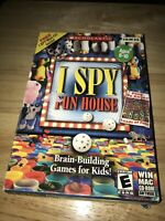 TWO NEW in box PC Computer Games - I Spy Fun House & Brain Play Ages 6-10