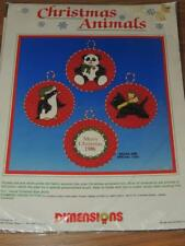 DIMENSIONS CHRISTMAS ANIMALS KIT 8330 STAMPED CROSS STITCH ORNAMENTS SET OF 3