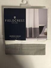 "Fieldcrest White / Gray Oxford Stitch Fabric Shower Curtain 72"" x 72"""