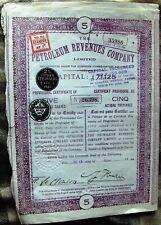 Russian-British 5 shares-£5 Petrolium Revenues Company Provisional Certificate