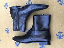 Prada Mens Shoes Black leather Chelsea Dealer Boots UK 10 US 11 44 Embroidered