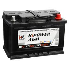 AGM Autobatterie 12V 75Ah Start-Stop Starterbatterie ersetzt 70Ah 80Ah VRLA