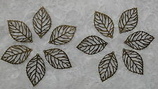 12 x 'NEW' Antique Bronze Tone Leaves-Jewellery Making , Scrapbooking,Cardmaking