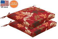 Bossima Outdoor Seat Cushions Patio Dining Chair Pad Ties Red Floral Set of 2