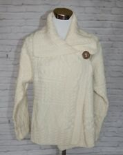 Carraig Donn Aran Knit Cardigan Sweater Irish Merino Wool Button Cream Large #11