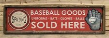 Antique Style Spalding Baseball Glove Bat Ad Wood Printed Sign ! 32in