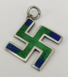 Vtg 1910 Gourdel Vale Solid Sterling Silver Enamel Fylfot Cross Necklace Pendant