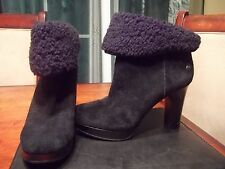 $225 Used UGG DANDYLION BLACK LEATHER ANKLE CUFFABLE HEELS Size 6.5