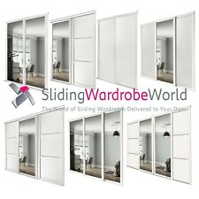 Shaker WHITE & Mirror SpacePro Sliding Wardrobe Door Kits & tracks (All sizes)