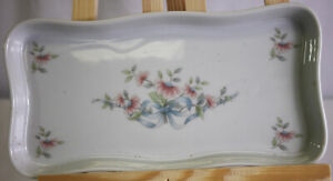 Princess House Heritage Floral Ribbon Pretty Pink Bathroom Tray  Discontinued
