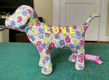 "PLUSH VICTORIA'S SECRET PURPLE/PINK FLORAL  DOG PINK STUFFED ANIMAL DOLL NWOT 8"""