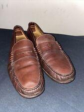 Salvatore Ferragamo Mens Burnt Sienna Leather Slip-On Loafers Size 11.5