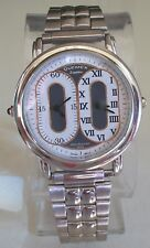 Men's Silver Finish Fashion 2 Time Zone(Dual Time)Dressy/Casual Watch