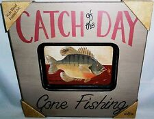 RUSTIC CABIN DECOR  Catch of the Day GONE FISHING Oversized Weathered Wood Frame