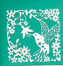 6 NEW TATTERED LACE HUMMINGBIRD TAPESTRY FRAME DIE CUTS - BIRD TOPPER- GARDEN