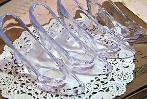 24 Clear Cinderella Glass Slippers Cake Topper Wedding Decoration