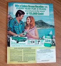 1970 Salem Sweepstakes Cigarette Ad Dream Vacation 1971 Pontiac Firebird Esprit