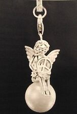 925 Sterling Silver Angel & Pearl w/ Peace Sign Pendant & Chain Necklace