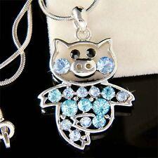 w Swarovski crystal Blue PIG Piggy Piglet Charm Pendant Chain Necklace Cute Xmas