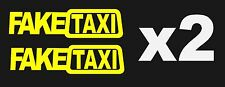 2x FAKE TAXI Sticker Decals Funny JDM Drift Turbo Hoon Race Car