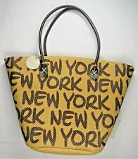 Robin Ruth Be-Noticed Basket Tote Bag New York Spellout Lined Shopping Beach EUC