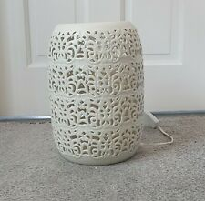 Ceramic Lamp with Cut Out Pattern - White