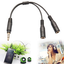 3.5mm Stereo Audio Male to 2 Female Headphone Mic Y Splitter Cable Adapter