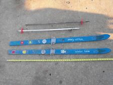 Vintage wooden snow skis and poles, decorated, child size,54 inches