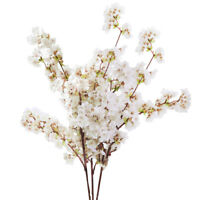 3pcs Artificial Cherry Blossom Branches Flowers Stem Silk Fake Flower Home Decor