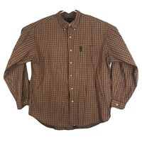 Mens L Abercrombie & Fitch Button Down Shirt Flannel Long Sleeve Plaid Red Green