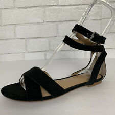 Banana Republic Black Suede Leather Ankle Strap Sandals 7.5 M