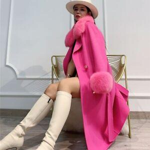 Women Wool Coat Luxury Detachable Fox Fur Collar Winter Warm Long Jacket 57519B