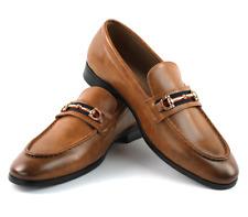 Mens Cognac Brown Leather Dress Shoes Slip On Loafer Gold Buckle Formal AZAR MAN