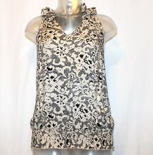 Women's Tweeds Ruffled V Neck Career Tank Top Ruched Waistband NWT Sz Small