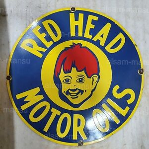 RED HEAD MOTOR OIL 30 INCHES ROUND VINTAGE ENAMEL SIGN
