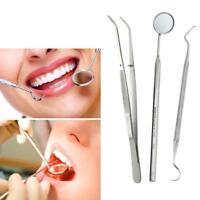 3 PCS/Lot Stainless Dental Tools Set Dentist Teeth Clean Hygiene Picks Mirror GA