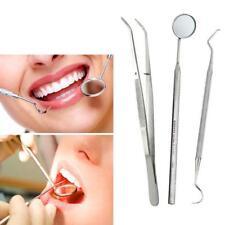 3 PCS/Lot Stainless Dental Tools Set Dentist Teeth Clean Hygiene Picks Mirror UP
