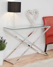 Glass Console Table Hallway Furniture Living Room Modern Chrome Metal Frame New