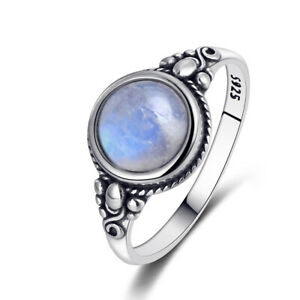 Vintage 925 Silver Round Natural Rainbow Moonstone Simple Design Jewelry Ring !!