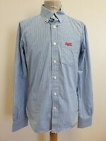 EE23 MENS SUPERDRY BLUE WHITE STRIPED SLIM FIT BUTTON COLLAR SHIRT UK M EU 50