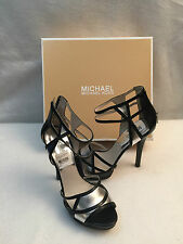 Michael Kors Jaida High Spike Heel Sandal Platform Black Silver Leather 9.5