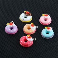 10Pcs Multi-color Resin Doughnut/Cake Charms Pendants Fit DIY Necklace Jewelry