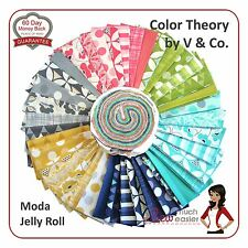Moda Color Theory by V & Co Colour Jelly Roll Quilt Fabric retro modern bright
