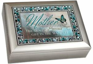 Mother the Most Precious Gift Jeweled Music Box Plays Wind Beneath My Wings