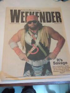 4 b/w photos + 1992 Lexington Randy Savage newspaper page program wrestling NWA