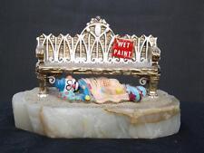 Ron Lee Figurine Hobo Clown Sleeping Under Bench Wet Paint 1988